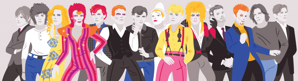 Illustration of the many looks of David Bowie