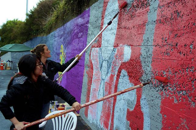 South Dunedin community art project. Organised by Malcam Trust Wilkie Road, South Dunedin.