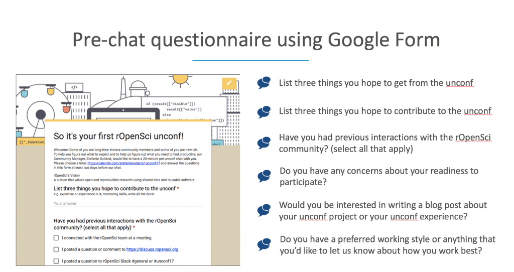 pre chat questionnaire using Google Forms