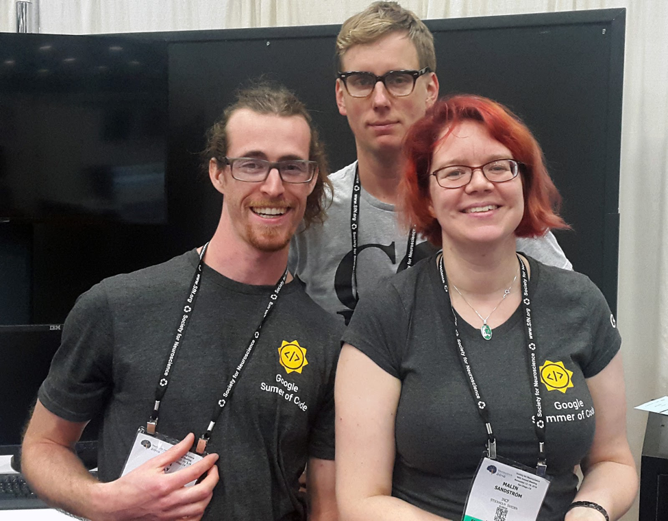 The author (Malin Sandström, right) with a colleague (Chris Fitzpatrick, middle) and a 2016 student (Devin Bayly, left) in the Google Summer of Code program.