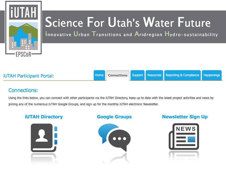 The landing page for the iUTAH online portal.