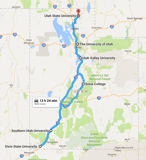 The route for our iUTAH roadtrip.